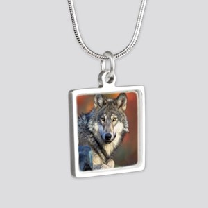 Wolf Wolves Lovers Silver Square Necklace