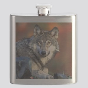 Wolf Wolves Lovers Flask