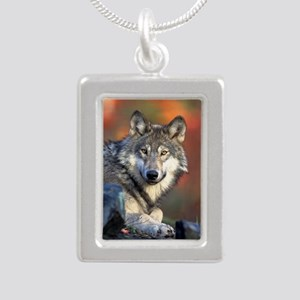Wolf Wolves Lovers Silver Portrait Necklace