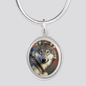 Wolf Wolves Lovers Silver Oval Necklace