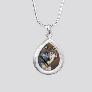 Wolf Wolves Lovers Silver Teardrop Necklace