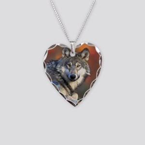 Wolf Wolves Lovers Necklace Heart Charm