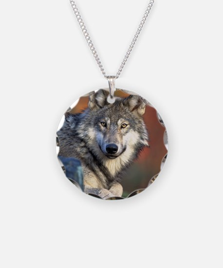 Wolf Wolves Lovers Necklace Circle Charm