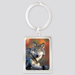 Wolf Wolves Lovers Portrait Keychain