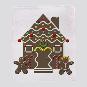 Cute Gingerbread House Throw Blanket