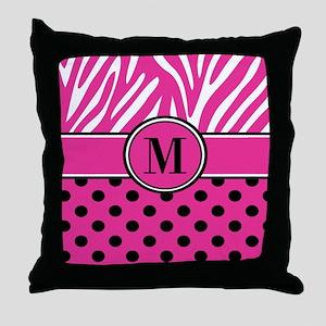 Pink Black Dots Zebra Personalized Throw Pillow