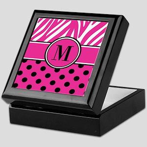 Pink Black Dots Zebra Personalized Keepsake Box