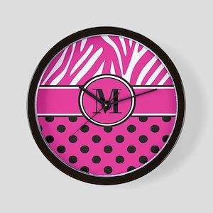 Pink Black Dots Zebra Personalized Wall Clock