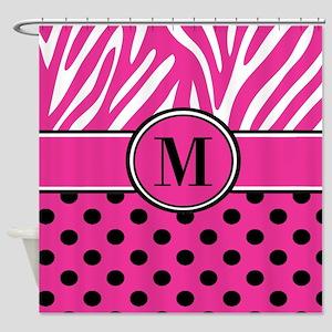 Pink Black Dots Zebra Personalized Shower Curtain