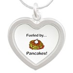 Fueled by Pancakes Silver Heart Necklace