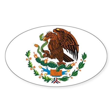 Mexico Coat Of Arms Oval Sticker