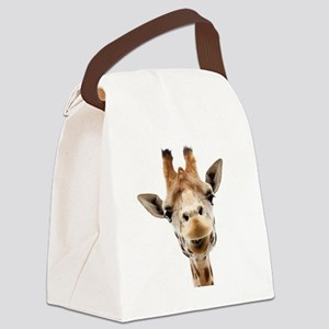 Funny Smiling Giraffe Canvas Lunch Bag