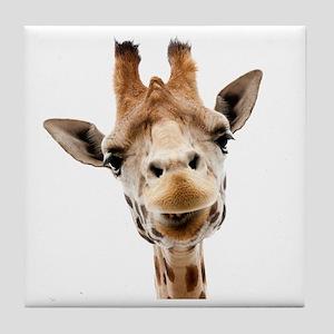 Funny Smiling Giraffe Tile Coaster