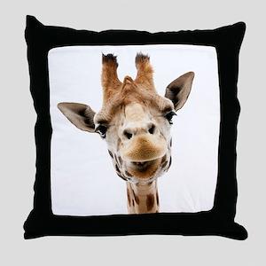 Funny Smiling Giraffe Throw Pillow