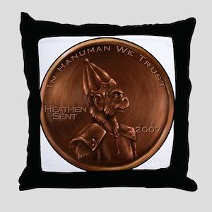 Hanuman Heathen Cent Throw Pillow