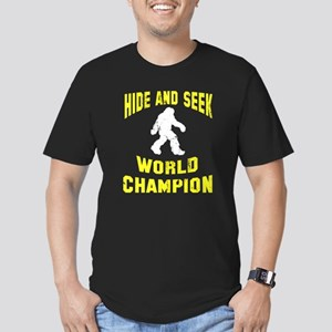 Bigfoot Hide and Seek Men's Fitted T-Shirt (dark)