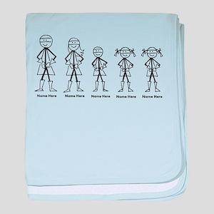 Super Family 1 Boy 2 Girls baby blanket