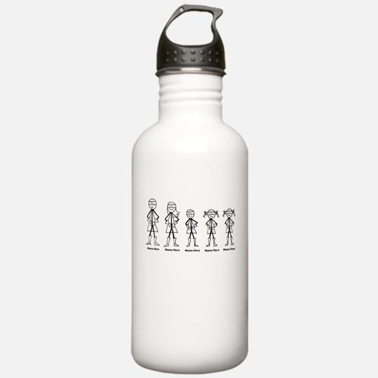 Super Family 1 Boy 2 Girls Water Bottle