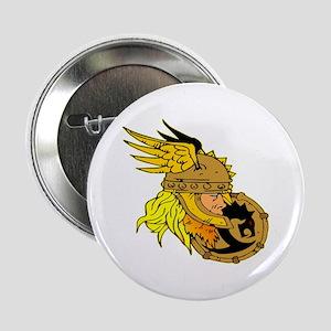 "Viking Warrior & Shield 2.25"" Button"