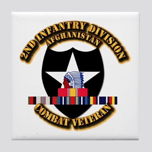 Army - 2nd ID w Afghan Svc Tile Coaster