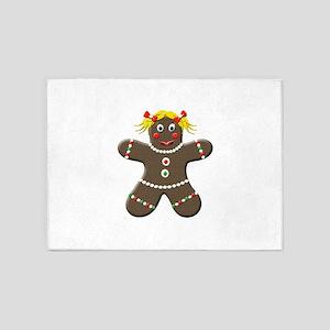 Gingerbread Girl Christmas 5'x7'Area Rug