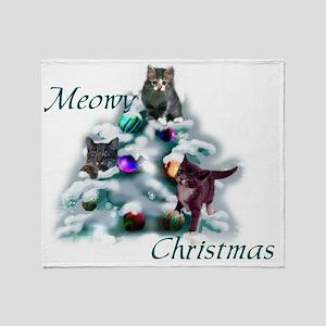 Cat Meowy Christmas Throw Blanket