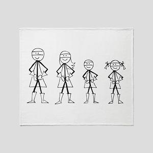 Super Family 1 Boy 1 Girl Throw Blanket