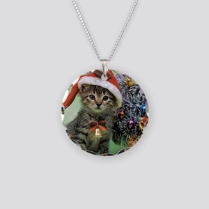 Precious Christmas Cat Necklace Circle Charm