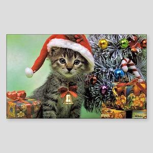 Precious Christmas Cat Sticker (Rectangle)