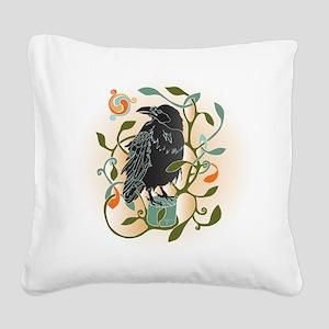 Celtic Crow Square Canvas Pillow