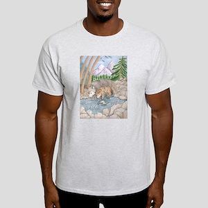 Ash Grey T-Shirt wolf at River/Wolf cubs