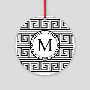 Monogram Black White Greek Key Pattern Ornament (R