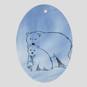 Polar Bear Mother and Cub Oval Ornament