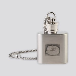 Arctic Fox Family ~ Flask Necklace