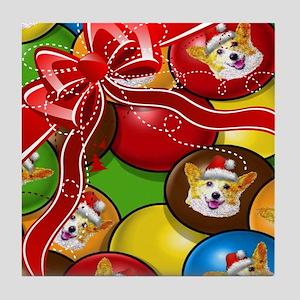 Corgi Candy Present Tile Coaster