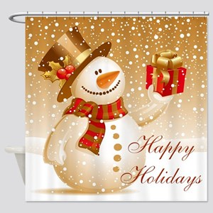 Happy Holidays Golden Snowman Shower Curtain