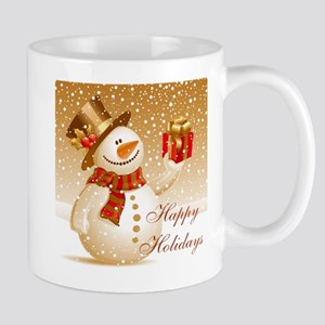Happy Holidays Golden Snowman Mugs