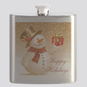 Happy Holidays Golden Snowman Flask