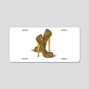 Leopard High Heel Shoe Gold Aluminum License Plate