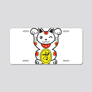 Lucky Cat Aluminum License Plate