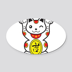 Lucky Cat Oval Car Magnet