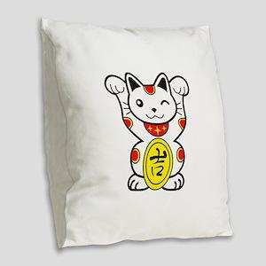 Lucky Cat Burlap Throw Pillow