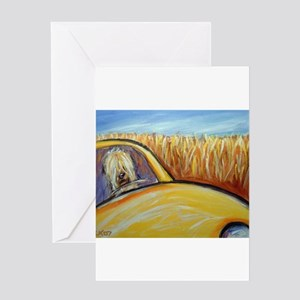 Soft Coated Wheaten Terrier driver Greeting Cards