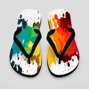 Rainbow Splatter Flip Flops
