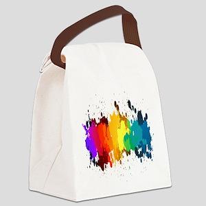Rainbow Splatter Canvas Lunch Bag