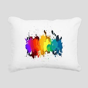 Rainbow Splatter Rectangular Canvas Pillow