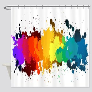 Rainbow Splatter Shower Curtain