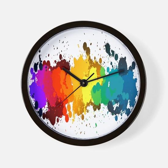 Rainbow Splatter Wall Clock