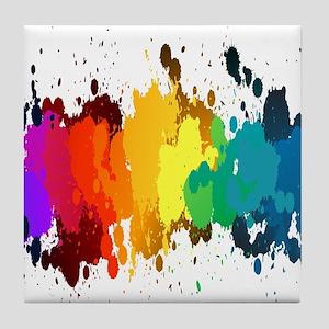 Rainbow Splatter Tile Coaster