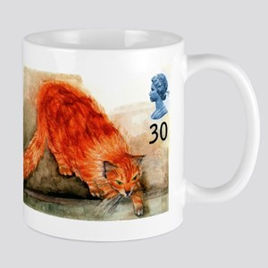 1995 Great Britain Ginger Cat Postage Stamp Mugs